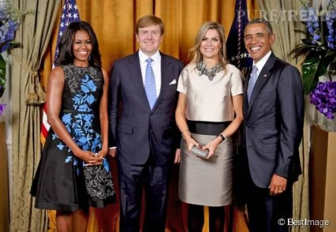 Michelle et Barack Obama avec Máxima et Willem-Alexander des Pays-Bas