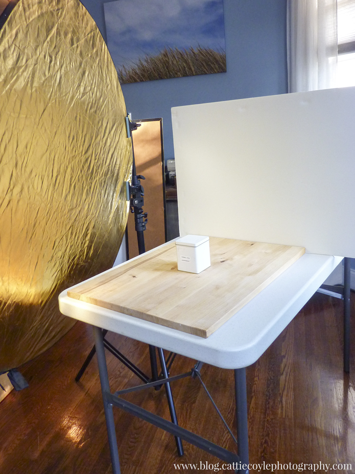 Large gold reflector and foam core by Cattie Coyle Photography