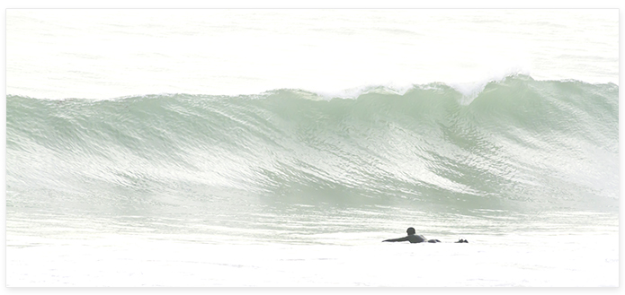 Surfing No 4 Panoramic - Surf photography by Cattie Coyle