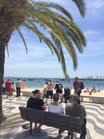 Boardwalk and beach in Cascais by Cattie Coyle Photography