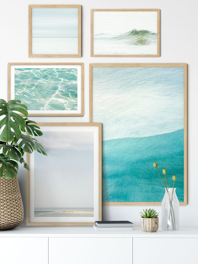 Fine art ocean print gallery wall by Cattie Coyle Photography