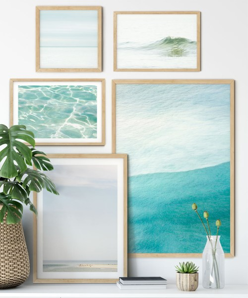 Ocean prints gallery walls by Cattie Coyle Photography