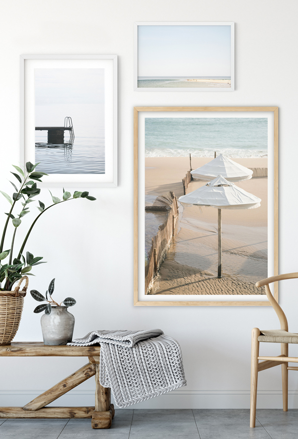 Beach photography gallery walls by Cattie Coyle Photography