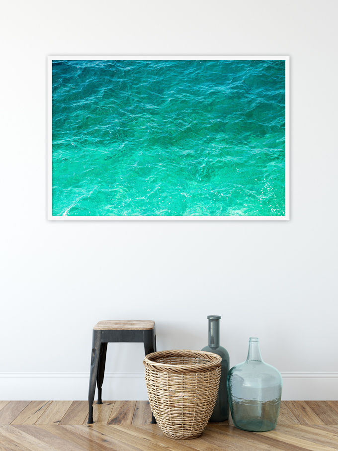 Mediterranean Shades of Teal No 3 - Oversized ombre coastal wall art by Cattie Coyle Photography