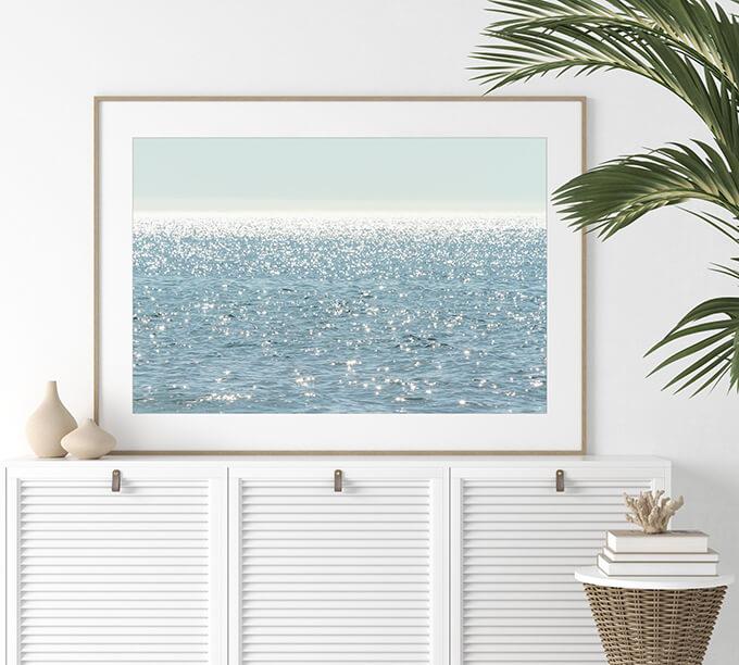 Sun Glitter - Blue water art print by Cattie Coyle Photography