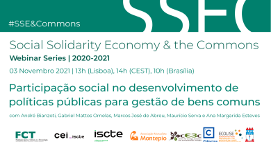 3 NOV   #SSE&Commons   Participação social no desenvolvimento de políticas públicas para gestão de bens comuns