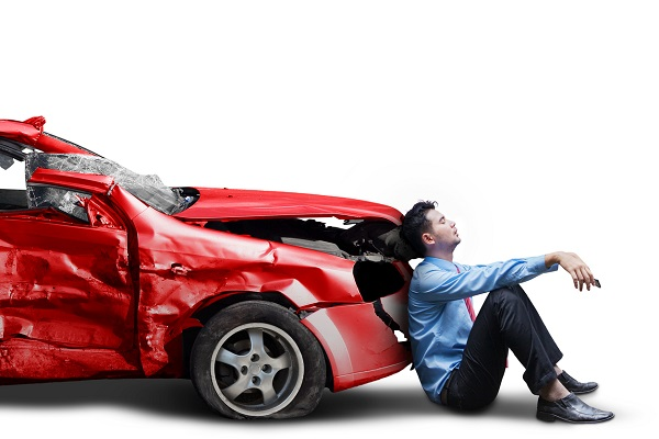 Frustrated person and broken car isolated