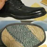 靴底の濃い緑色の部分に竹素材が使われてます