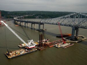 Construction is seen under way on the Tappan Zee Bridge in Tarrytown