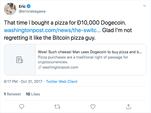 Buying pizza with Dogecoin