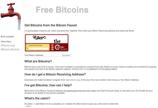 Free Bitcoins interface