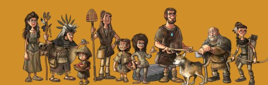 Cartoon version of Neolithic farmers in Scotland