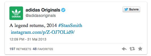 Tweet d'Adidas annonçant le retour de la Stan Smith