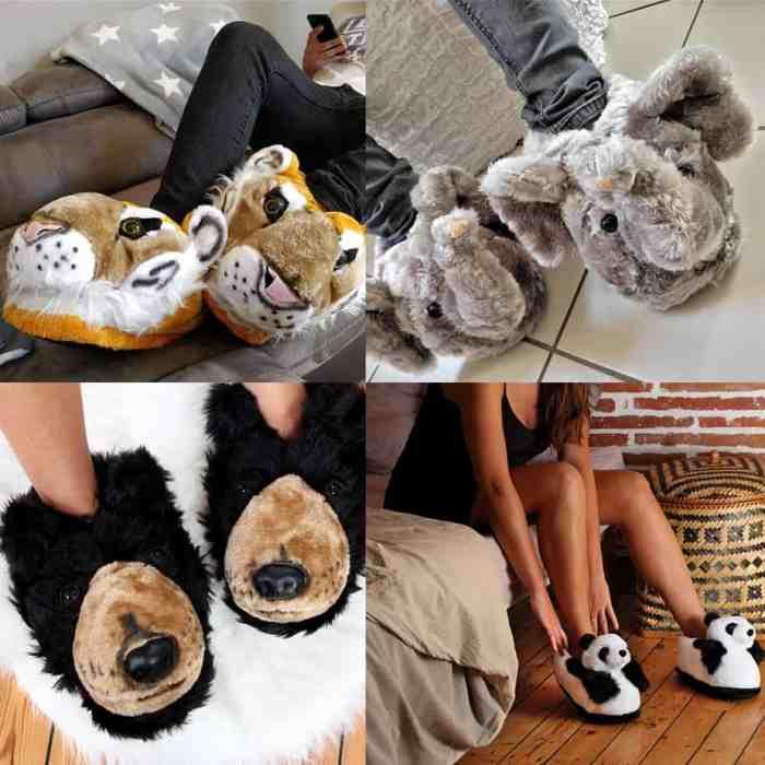Idée cadeau : chaussons tigres, chaussons éléphant, ours et panda !