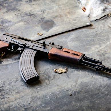 Ak-47 on cement ground