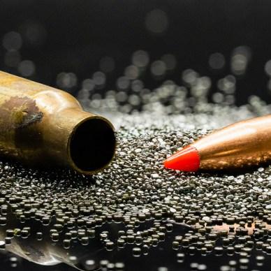 Gunpowder outside a cartridge bullet grains
