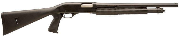 Picture shows a black pump-action shotgun with synthetic pistol grip stock made by Stevens.