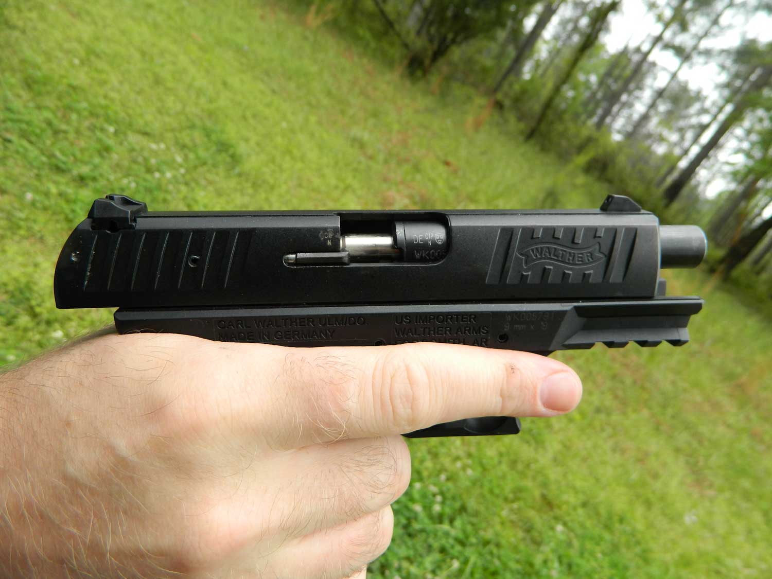 Walther CCP handgun showing a failure to feed