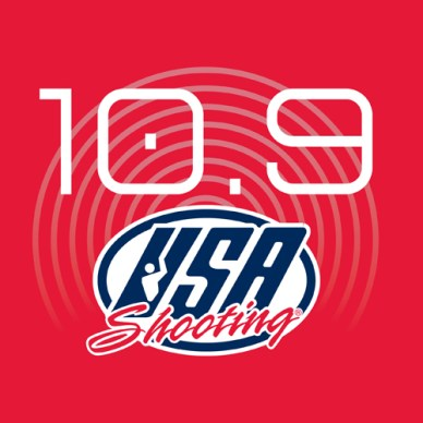 Picture shows a 10.9 Day logo with red background and a USA Shooting team logo.