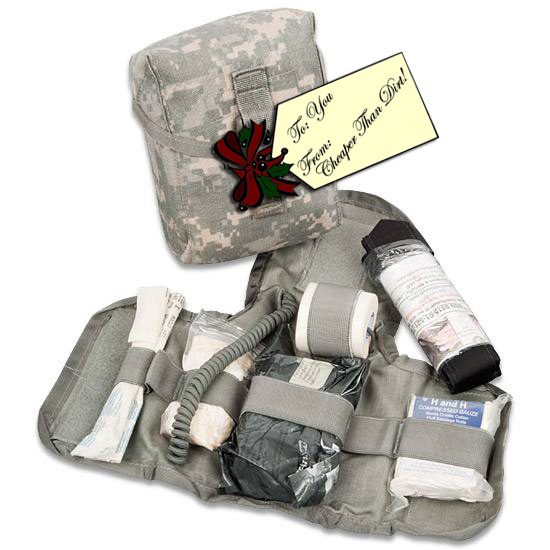 Picture shows an Army-issued first aid kit.