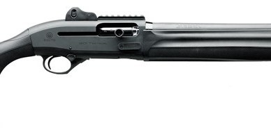 Picture shows a black tactical semiautomatic shotgun.
