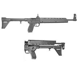 2 black Kel-Tec Sub-2000 guns, one on top of the other, barrels pointing to the right on a white background
