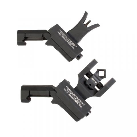 Black, offset 45-degree angle folding sights for H&K or AR-15 rifles