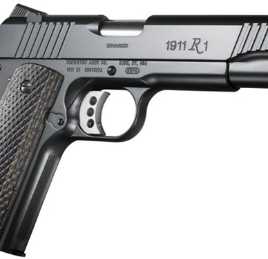 Black Remington 1911 R1 on a white background with the barrel pointed to the right.