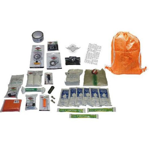 Picture shows an orange backpack with survival supplies next to it.