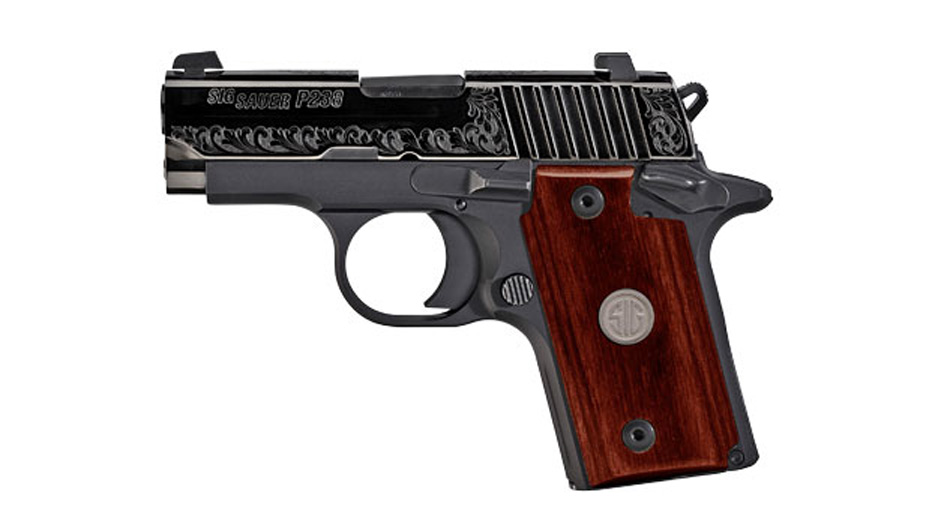 SIG P238 .380 subcompact gun with Rosewood grip and engraved slide