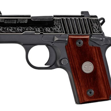 SIG Sauer P238 .380 subcompact gun with Rosewood grip and engraved slide