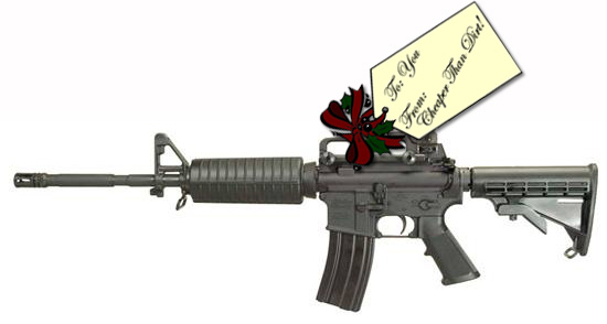 Picture shows the left side of a black, AR-15 rifle with a Christmas gift tag attached.