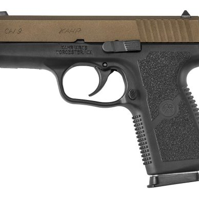 Kahr 9mm semiautomatic handgun with black frame and burnt bronze slide.