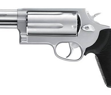 Silver barreled, black gripped Taurus Judge on a white background
