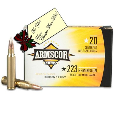 Picture shows a yellow, white and black box of .223 Remington ammunition made by Armscor.