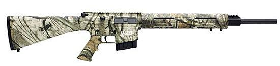 Camo AR-15, barrel pointed to the right on a white background