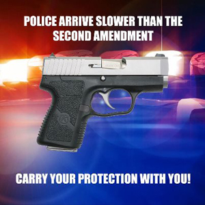 """Pistol with police car lights in the background and """"Police arrive slower than the Second Amendment. Carry Your Protection With You"""""""