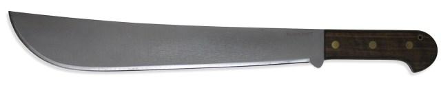 16-inch steel blade machete with walnut wood handle