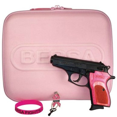 Bersa .380 handgun with pink grips, pink gun case and pink rubber bracelet