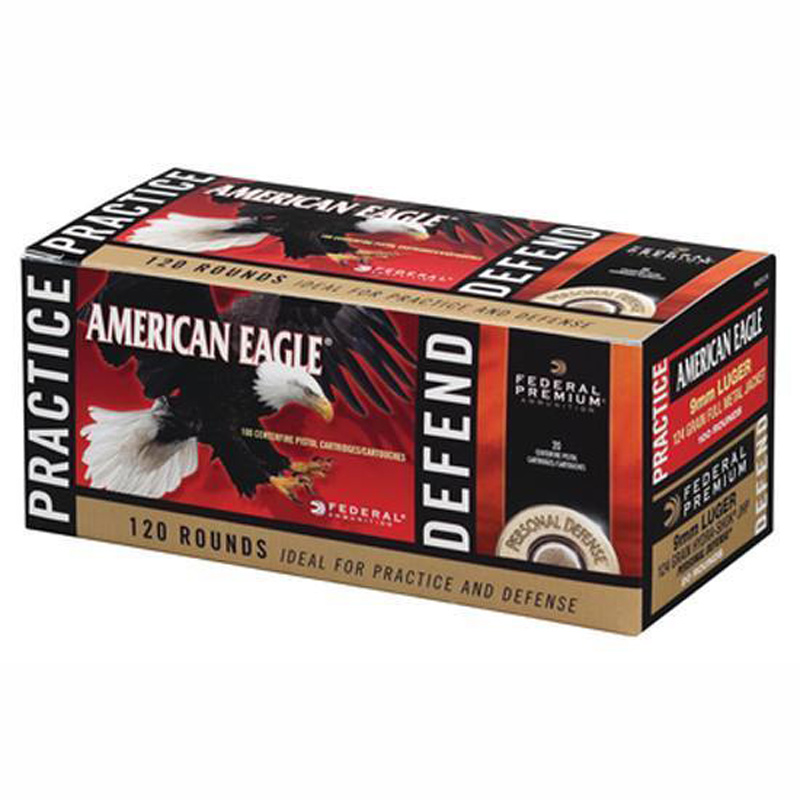 Picture shows a red box of American Eagle ammunition made by Federal.