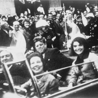 The Kennedys and Connallys motorcade seconds before the assination