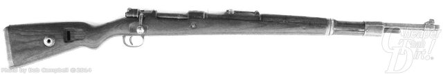 Black Mauser Yugo, old and still usable, on a white background