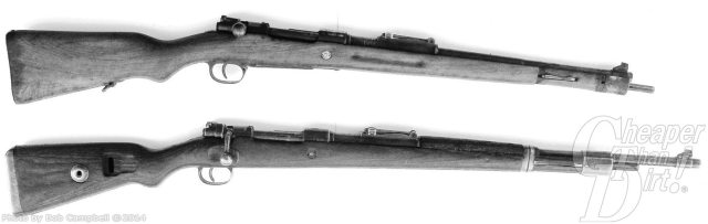 Black (Top)A Chang Kai Shek Mauser and (bottom) the 8mm Yugo on a white background