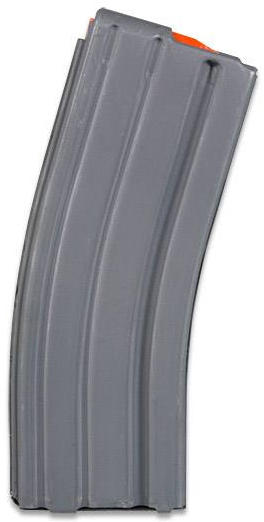 Gray AR-15 magazine on a white background