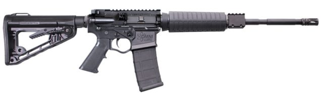 Black AR-15 rifle with a polymer lower and upper receiver.
