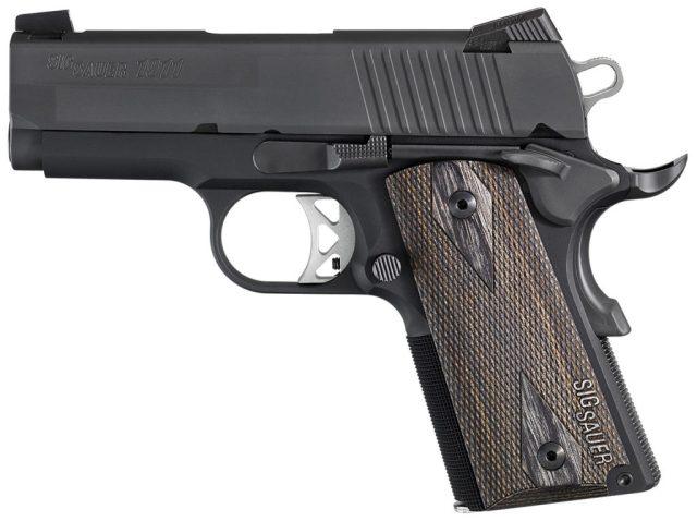 Black SIG Ultra aluminum-framed handgun barrel to left on white background