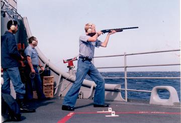 Sailor Shooting skeet from aboard the USS Antietam CG-54