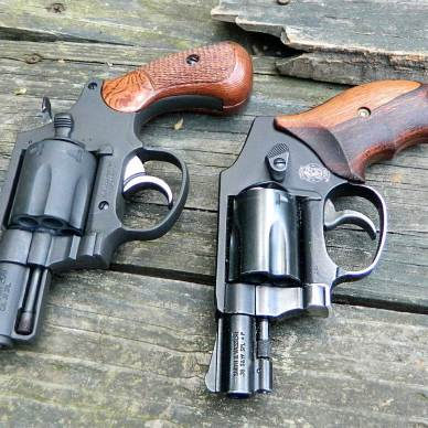 Armscor M206 revolver left, Smith and Wesson 442 revolver right