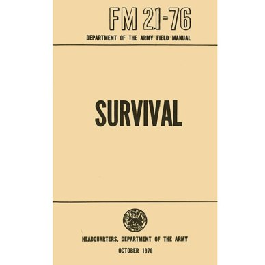 Light peach image of a survival handbook with black lettering on a white background
