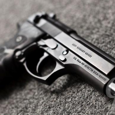 Classic, black metal-framed Beretta M9 9mm handgun